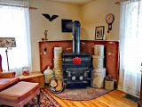 Wood Burning Stove in Family Room